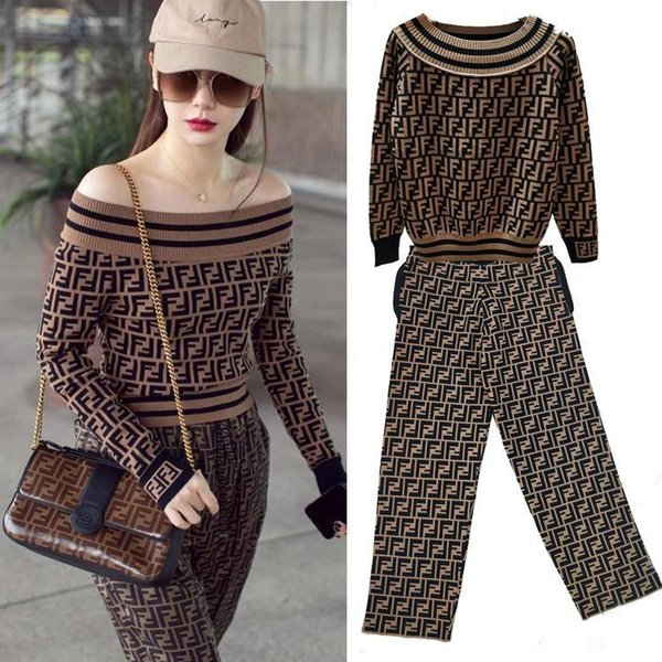 brand women knitwear suit Waistcoat One Word Round Neck Hole Double F Letter Long Sleeve Knitting Unlined Upper Garment Jacket Curved Beads