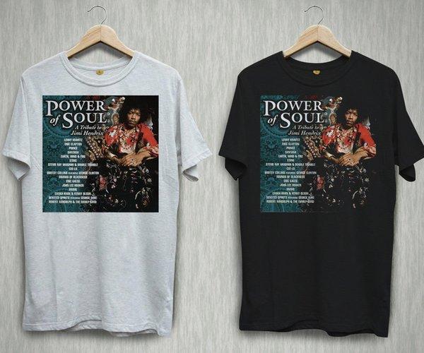 JIMI HENDRIX Alma Poder Rock Guitar Preto Branco T-shirt Camisas Tee S-2XL Engraçado 100% Algodão camiseta camisa camisas de marca jeans