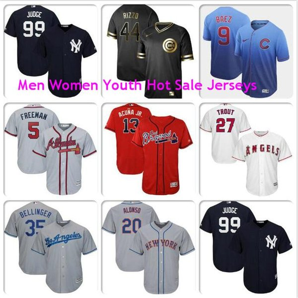 Mens Aaron Judge Ronald Acuna Jr Freddie Freeman Javier Baez Anthony Rizzo Mike Trout Pete Alonso Cubs Mets official baseball jerseys 4xl
