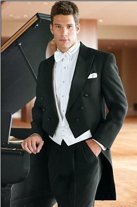 Fashion Tailcoat Groom Tuxedos Double-Breasted Peak Lapel Best Man Groomsman Hombre Trajes de boda Prom / Form / Bridegroom (Jacket + Pants + Vest)