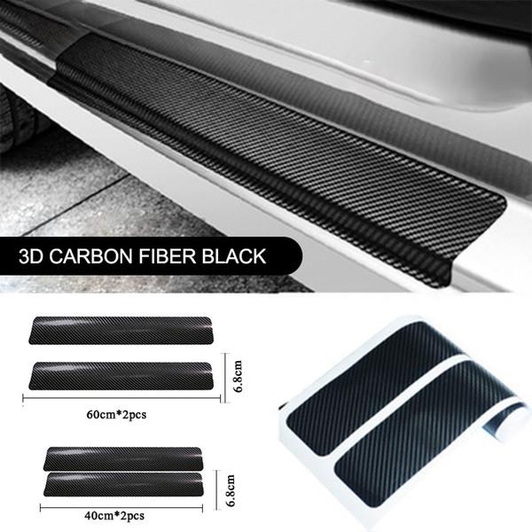 Universal 4pcs 3D Carbon Fiber Scuff Plate Door Sill Panel Protector Car Door Anti Scratch Sill Stickers For Car Accessories