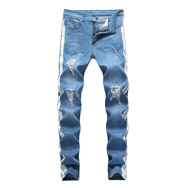 Erkek Tasarımcı Kot KANYE WEST Ripped Sıkıntılı Uzun Açık Mavi Çizgili Jean Pantolon Moda Pantolon