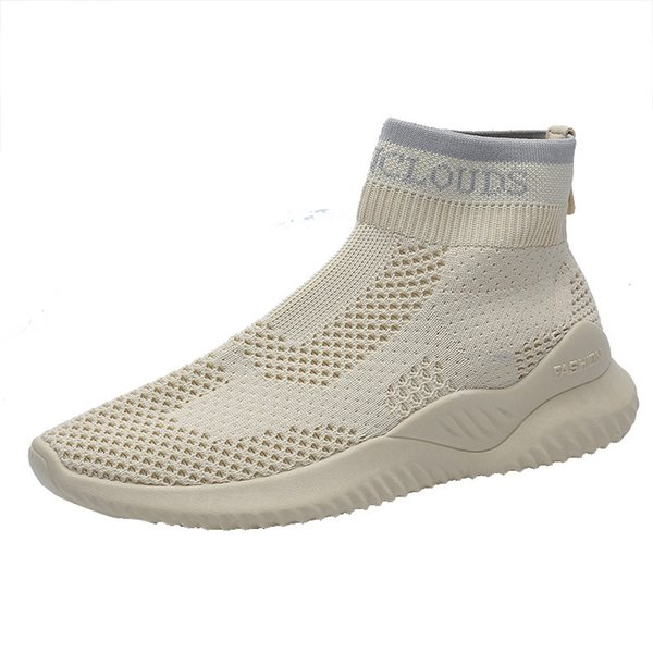 2019 summer new flying woven breathable shoes Korean version of high-top casual wild sports shoes