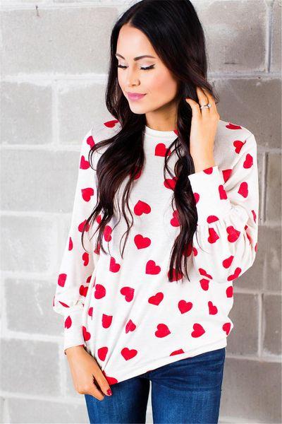 Día de San Valentín amor moda ocio niñas camiseta amor impresión manga larga camiseta camisetas NB-899