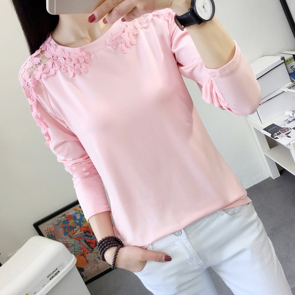 Women Autumn Eleglant Lace Hollow Out Blouse Shirt Long Sleeve Pink Blouse Tops Female Outfit Tops