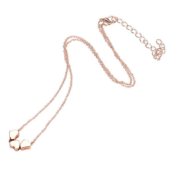 Monili di modo della collana della catena del pendente del cuore dei tre dell'acciaio inossidabile delle donne di fascino di bellezza per le donne che spediscono liberamente dropshipping