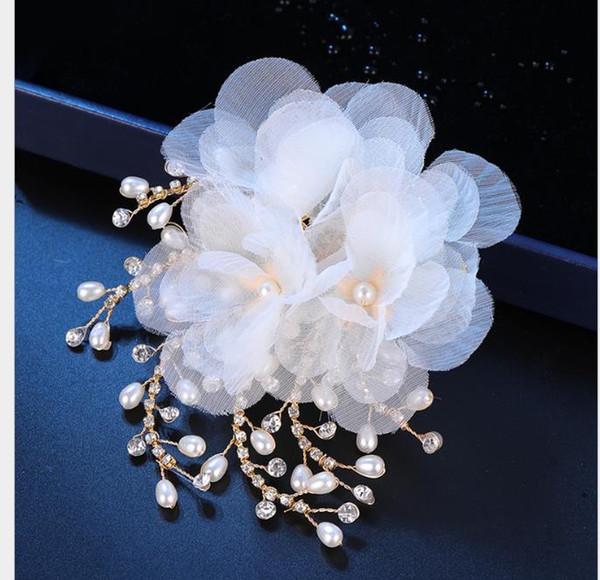 Aesthetic mesh crystal hairpin Bridal Wedding Dress headdress children's jewelry performance headdress