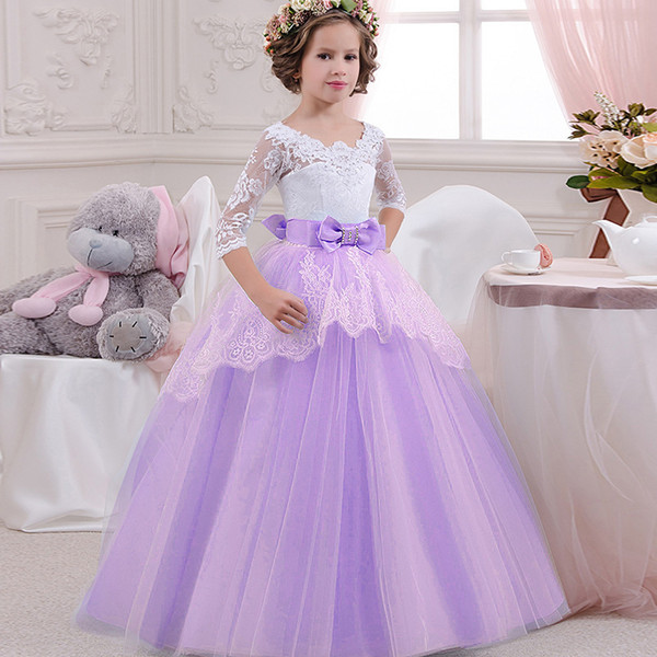 Christmas Beauty Pageant Outfits.3 4 Long Sleeve Girls Pageant Gown V Neck Lace Tulle Backless Floor Length Flower Girl Dresses To Wedding Party Christmas Kids Wear Beauty Pageant
