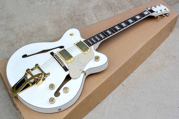 Factory Custom Rosewood Fingerboard Semi-hollow White body Electric Guitar with Golden hardware,Tremolo bridge,can be customized
