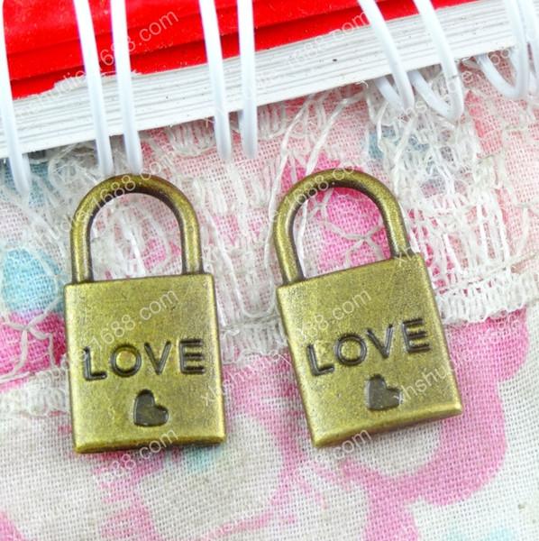 100pcs 10.6*19.6MM Tibetan vintage antique bronze heart lock charms for bracelet vintage metal pendant earring handmade DIY jewelry making