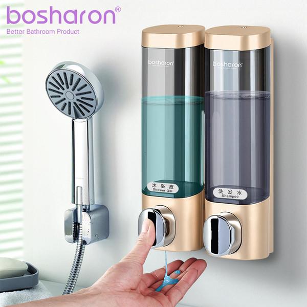 Liquid Soap Dispenser Wall Mount 300ml Bathroom Accessories Plastic Detergent Shampoo Dispensers Double Hand Kitchen Soap Bottle SH190919