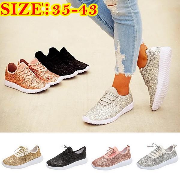 Vertvie Hot Sale 2019 Spring Glitter Sneaker Women Walking Shoes Soft Metallic Sequins Light Weight Jogger Shoes Summer Running
