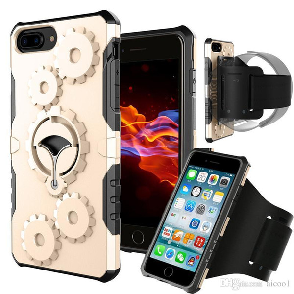 Aicoo Gym Running Armband Case Mechanical Gears Cover With Kickstand For iPhone X 8 7 6s 6 Plus Samsung Note 9 8 S9 S8 Plus OPP BAG