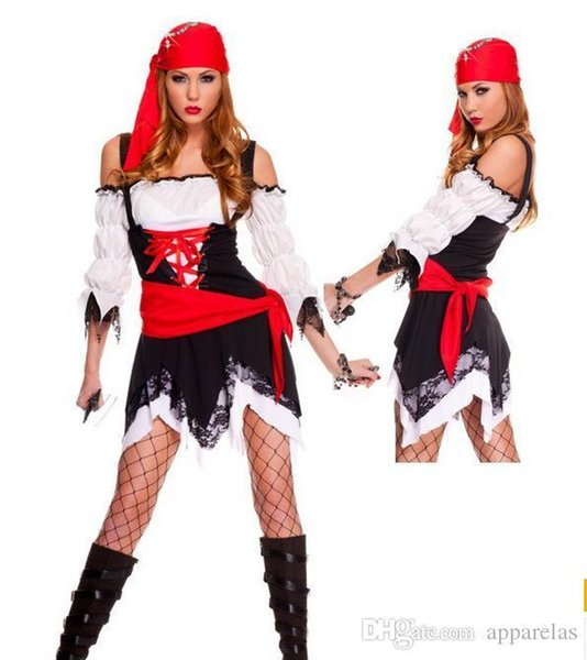 Halloween Party Dressed In Pirate Night Cosplay Theme Costume A Black Waist Skirt With A Scarf Skirt