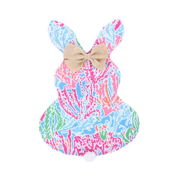 Lilly Paskalya Tavşanı Bayrağı DIY Ev Dekorasyon Çiçek Desen Tavşan Kulak Asma Bayraklar Bahçe Banner Bayrak Çocuklar Oyuncak Hediye 46 * 42cm En E11305