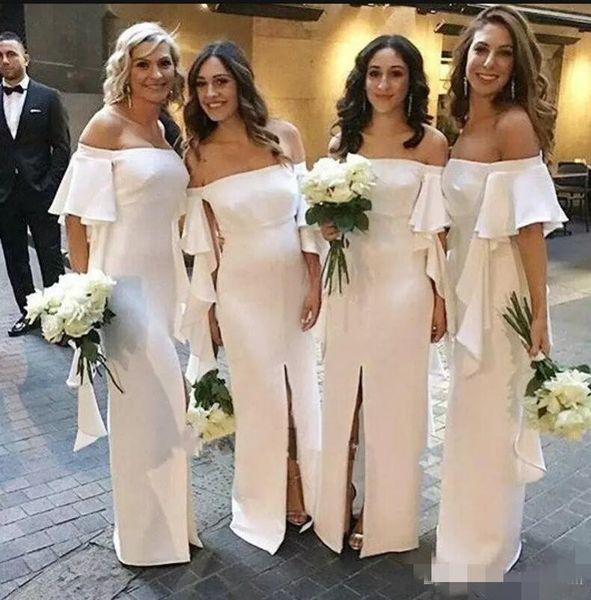 2019 mais novo fora do ombro vestidos de dama de honra mangas curtas poeta babados frente fenda até o chão coluna dama de honra vestido para o casamento do país