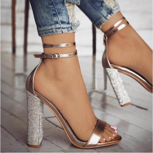 Women block high heels sandals summer luxury crystal heel party wedding shoes ladies sexy open toe ankle strap gladiator sandals