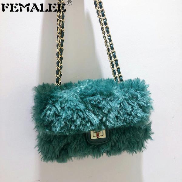 Neue Art und Weise Faux-Pelz-Beutel-Kurier-Beutel für Frauen Umhängetasche Schultertasche Winter-bolsa feminina Kupplung weiblich Fluffy Bag