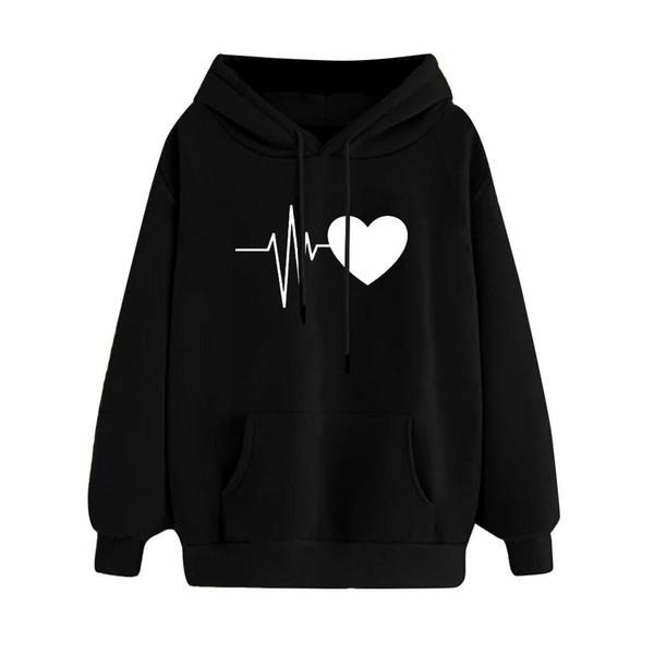 Mujeres sudadera con capucha del corazón de impresión harajuku de manga larga informal suéter encapuchado ocasional remata la blusa ropa sudadera mujer 2019