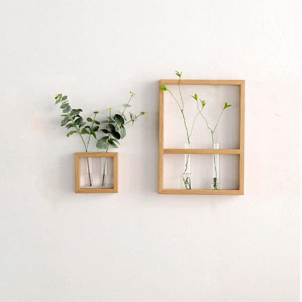 Nordic Style Crafts Solid Wall Hanging Clear Glass Tube Rack Wooden Flower Vase Hydroponic Plant Pot for Home Decoration