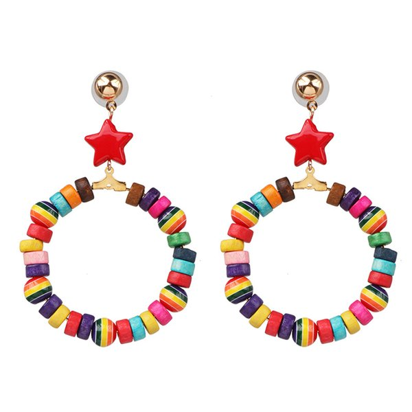 2019 bohemia fashion women jewelry colorful irregular acrylic beads hoop earrings for girls korean star love heart earrings gift