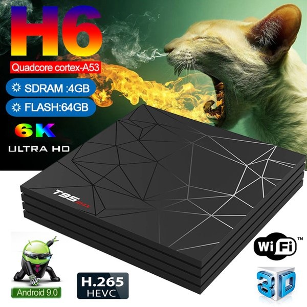 4GB RAM 64GB ROM 6K Smart TV BOX Android 9.0 T95 MAX Allwinner H6 Quad Core 2.4G Wifi Youtube T95MAX PK TX6 H6 Futebol IPTV Set Top Box