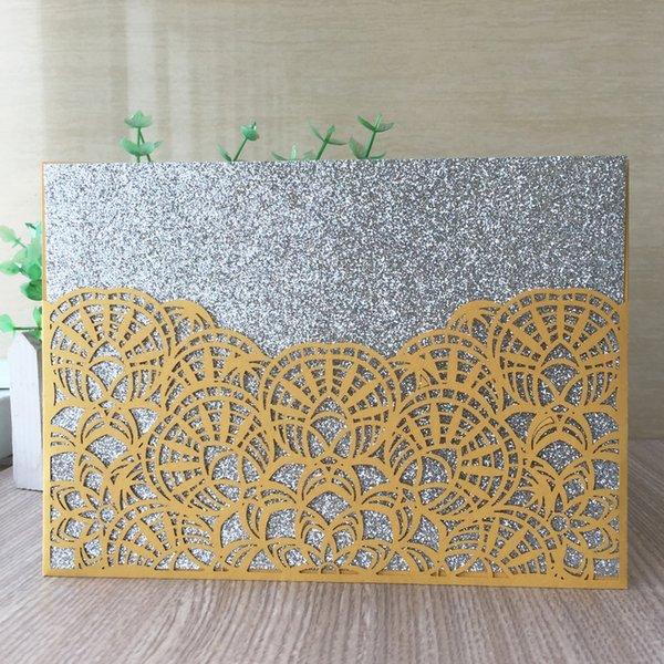 Exquisit giallo Hollow cocco taglio laser carta pergamena avvolgere Inviti di nozze festa di compleanno padre giorno carta multi colore spedizione gratuita