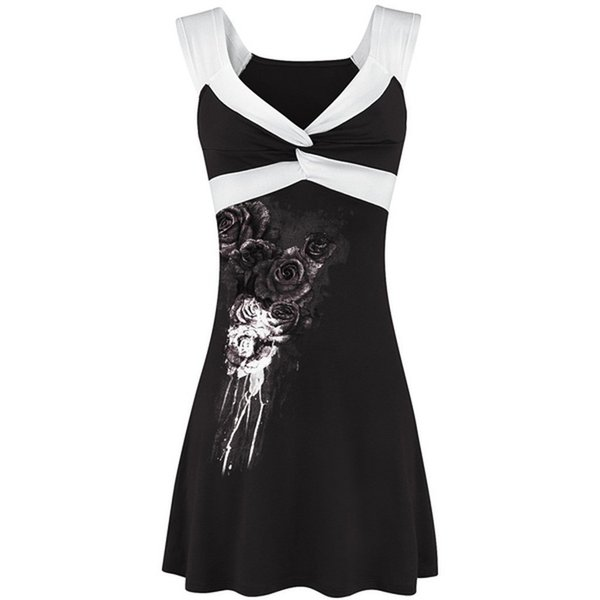 Plus Size Summer Dress Women 2019 Summer Woman Clothes Gothic Streetwear Floral Sleeveless Ladies Tops Vest Casual V Neck Haut Y190509