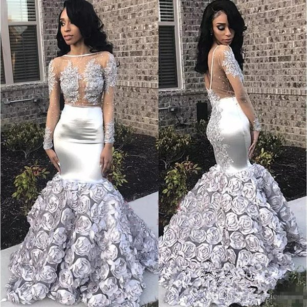 Gorgeous Rose Flowers Mermaid Prom Dresses 2018 Appliques Beads Sheer Long Sleeve Evening Gown Silver Stretchy Satin robes de soirée