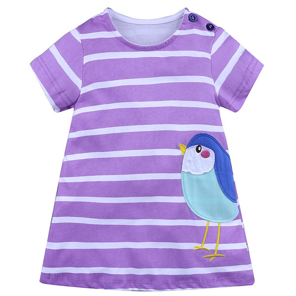 2019 summer European style brand children's clothing girls casual striped cotton dress kids clothes baby girl dress 1-6 years