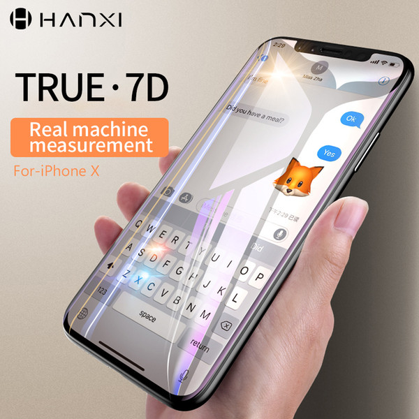 Hanxi 7D Tempered Glass Film For iphone X Screen Protectors Scratch Proof Front Film Mobile Phone Full Screen Edge Anti -blue