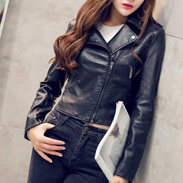 Fashion Korean Version Motorcycle Jacket PU Leather Short Coat Lapel Zipper Solid Color Windproof Jacket S-L Leisure Coat