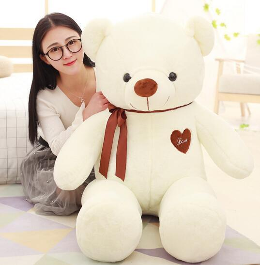 Novelty Giant Teddy Bear Stuffed Animals Heart 80cm White Pink for Baby Plush Toys Kids Gift Cute Doll Soft Toy Girlfriend Birthday Love