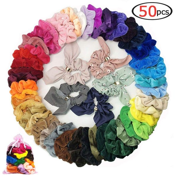 50 pz capelli scrunchies tessuto velluto elastico fasce per capelli cravatte corde scrun strumenti per lo styling economici multicolor carino papillon