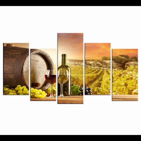 New Child Room Decoration Nordic Modular Pictures Home Decor Grapes And Wines 5 Piece Canvas Art Unframed Print Spray Paintings