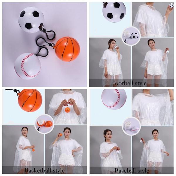 Impermeabile monouso in plastica palla portachiavi Impermeabili Mini Basket Calcio Rain Covers viaggio Tour Trip cappotto pioggia PE Rainwear GGA2210