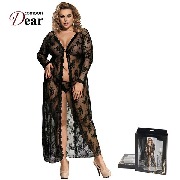 Comeondear Robe Women Lingerie Sexy Hot Erotic Big Size Nightwear Sex Costumes Kimono Bathrobe Dress Gown Rk80232 J190612