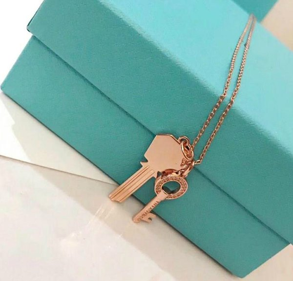 Classic designer Modern Keys jewelry necklace high quality 925 sterling silver two-in-one pendant love necklace woman gift
