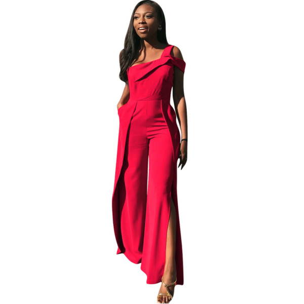 Red Loose One Shoulder Ruffle Jumpsuit Embellished Sleeveless Workwear Rompers Overalls Women Summer Elegant Side Split Jumpsuit
