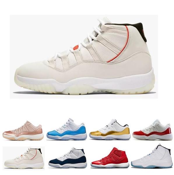 Barato 11 11s hombres, mujeres, zapatos de baloncesto, alto bajo, platino, tinte, PRM, heredero, terciopelo rojo, clausura, geremonia, Concord, 23, 45, oro rosa, zapatillas