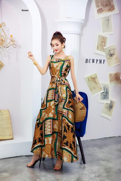 2019 mulheres europeus e americanos desgaste do verão nova moda solto fino chiffon saia impresso longo dress qc0277