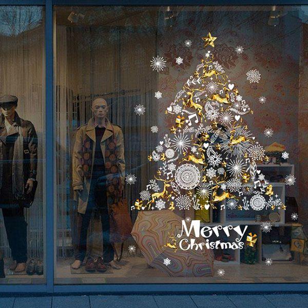 3D Christmas Tree Snowflake Wall Sticker Home Decor Kitchen Shop Window Glass Poster Festival Christmas Decoration PVC Art Mural