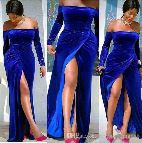 Плюс Размер Royal Blue Velvet High Side Split Sexy Пром платья для девочек черные с длинными рукавами плеча шеи Вечерние партии платья Формальные