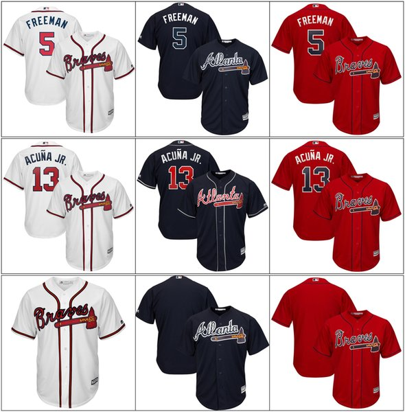 Men Atlanta Cheap Wholesale Braves Ronald 13 Acuña Jr. Freddie 5 Freeman Josh 20 Donaldson White Jerseys cool Base Baseball Player Jerseys