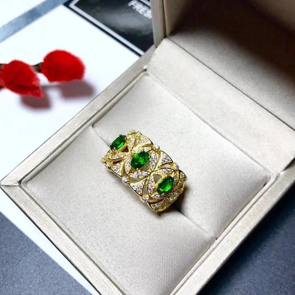 Neue 2019 Produkte schlagen Regale zurückhaltende luxuriöse edle Temperamentmode natürlichen Smaragd 925 Silber Damenring