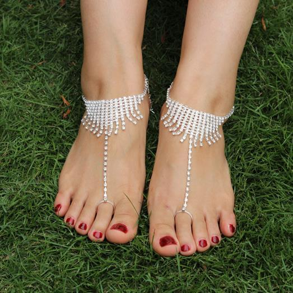 Water drill bride foot chain beach foot chain barefoot ornament
