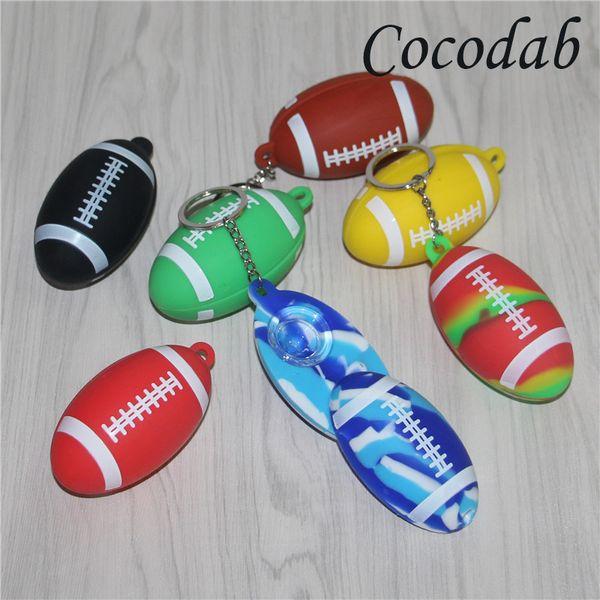 Venda quente Colorido tubo de mão de silicone Chaveiro Forma de Futebol Mini Fumando cachimbo de Mão Tubo de Tabaco de Cigarro de Tabaco Tubos de fumar Portátil