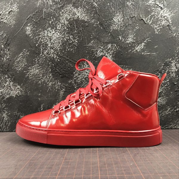 Luxury Brand Designer Shoes 2019 BB Hight Sneakers All White Red Triple Black Flat Fashion Top Cut Boots Trainers Size36- 46