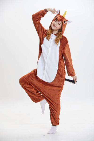 Mangas compridas Mulheres Marrom Unicórnio de Lã Pijamas Com Capuz Adultos Desgaste Da Casa Trajes Da Mascote Desgaste Do Sono Noite Desgaste Do Partido Quente