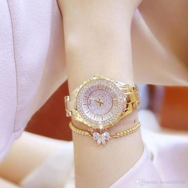 Top Brand Orologi Luxury Ladies acciaio inossidabile orologio donna strass orologi da polso Crystal Starlight regalo orologio con scatola regalo bracciale